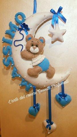 Fiocco nascita coccarda feltro pannolenci nome personalizzato orsetto luna cuore