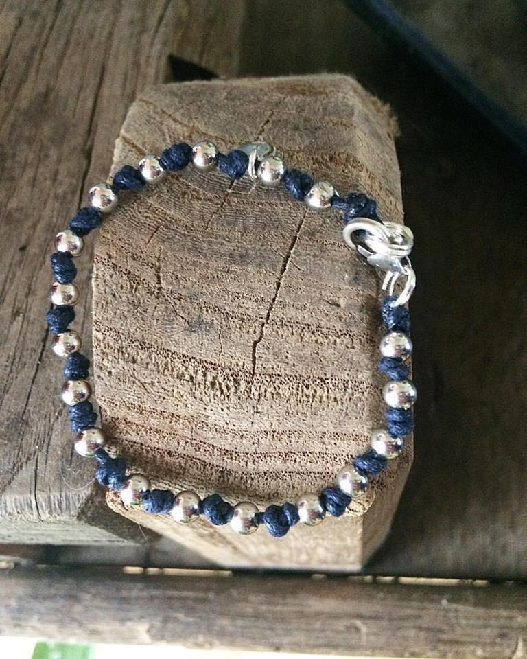 Bracciale unisex cordoncino con sfere in argento 925