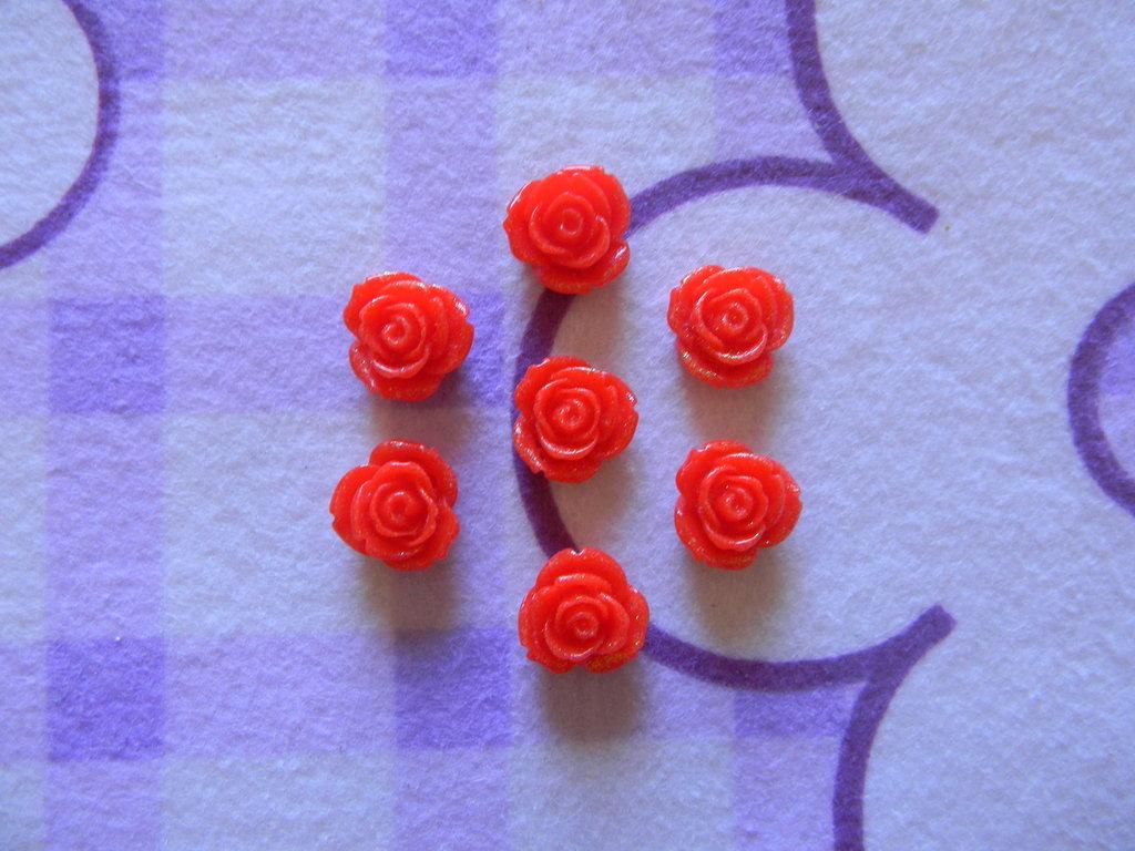 Perle a forma di Rosa rosse in lucite SIMIL CORALLO 5 pezzi 20mm circa