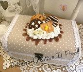 Scatola Portagioie - Shabby chic - handmade - Con panna, cioccolata, donut, pan di stelle, waffle e cookie