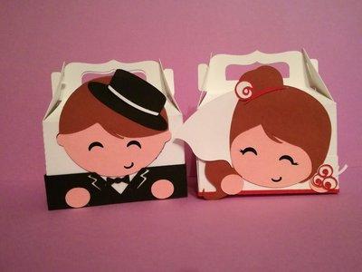 2 scatole scatoline bomboniera porta confetti sposi matrimonio nozze coppia
