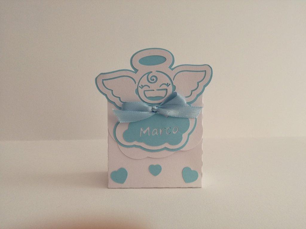 Scatola scatolina bomboniera confetti angioletto battesimo nascita nome cuori