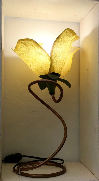 Lampada fiore base rame