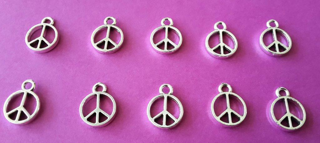 10 charms ciondoli 'Simbolo PACE' argento tibetano