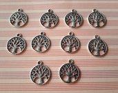 10 charms ciondoli 'Albero della vita' argento tibetano
