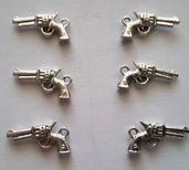 6 charms ciondoli 'Pistole cowboy' argento tibetano