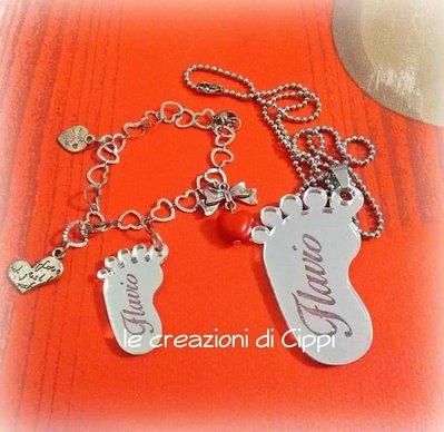 Collana con ciondolo piedino singolo personalizzabile