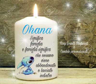 "Candela personalizzata ""ohana"""