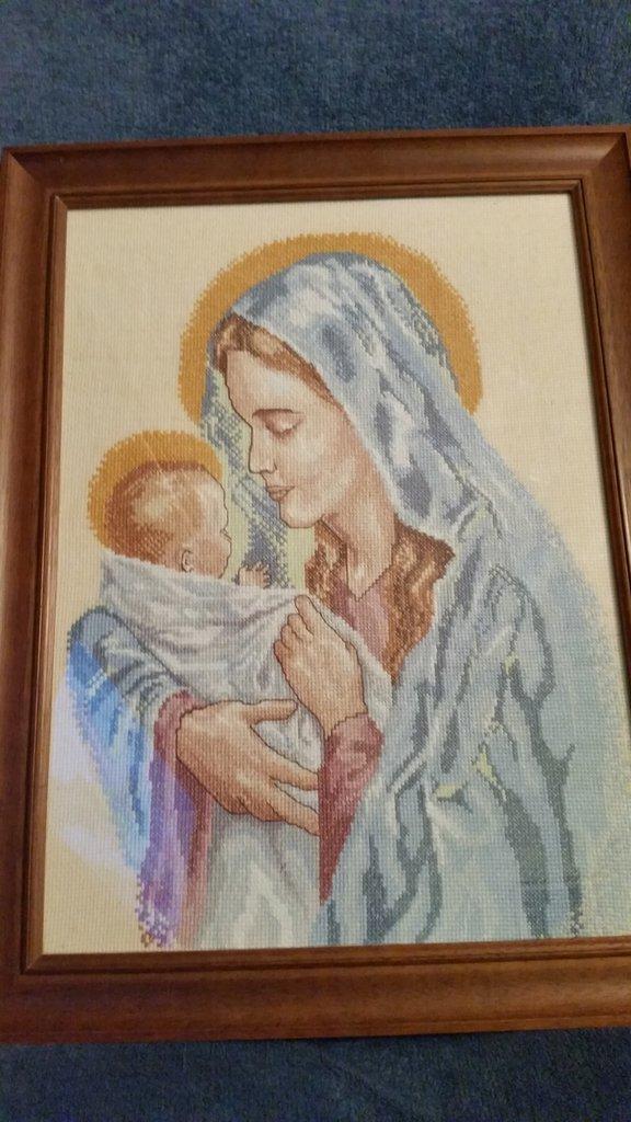 Quadro  a punto croce Madonna e Gesù  bambino
