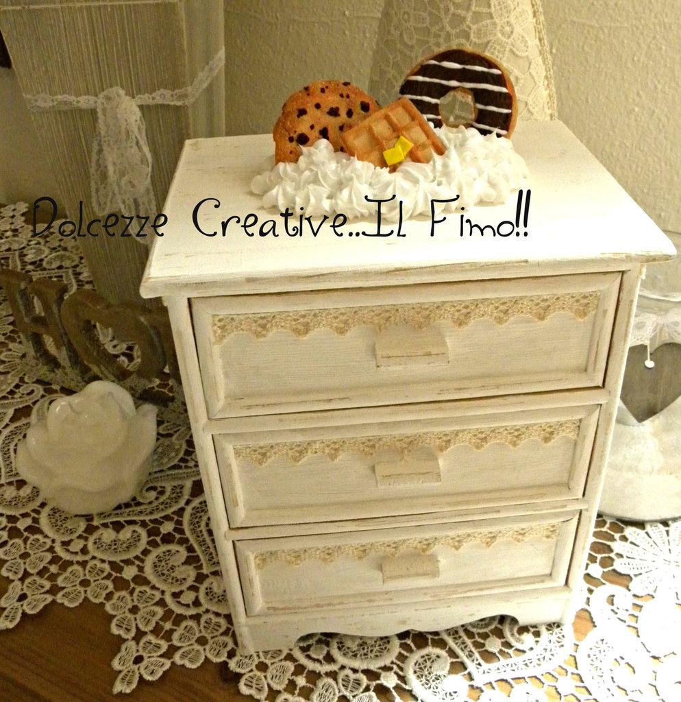 Mobiletto Shabby Chic - handmade - cassettiera portagioie - panna c ...