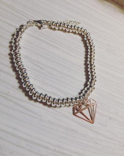 """Bracciale rondelle in argento 925 e ciondolo """"Diamante"""" in argento rosè"""