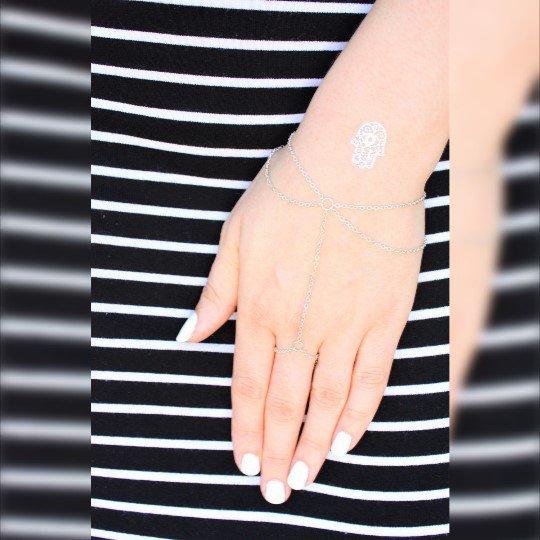 Delicato braccialetto d'argento Slave - Anello Bracciale