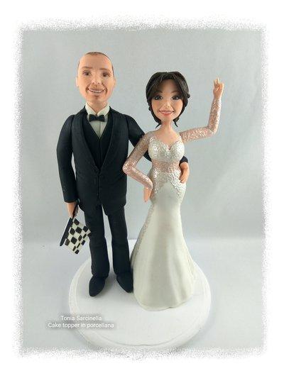 Cake topper sposi personalizzati tema formula 1