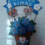 Fiocco nascita in legno vaso di fiori con targhetta dipinto a mano