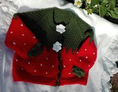 golfino fragola di lana verde e rossa per bimba 18 mesi