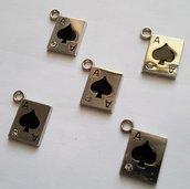5 charms ciondoli 'Carte gioco' argento tibetano