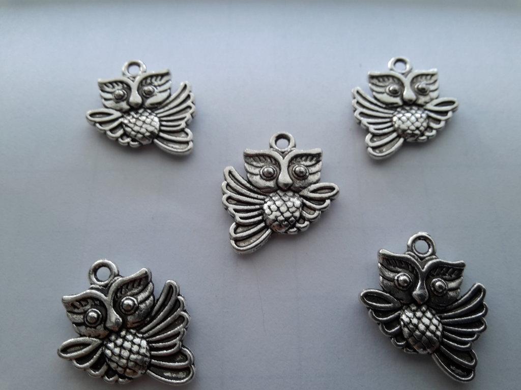 5 charms ciondoli 'Gufo' argento tibetano,