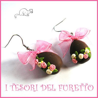 """Orecchini Pasqua """" Uova cioccolato rosa bianco """" Fimo cernit kawaii idea regalo ragazza bambina donna"""