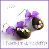 """Orecchini Pasqua """" uovo cioccolato lilla bianco """" idea regalo clip bambina Kawaii ragazza donna"""