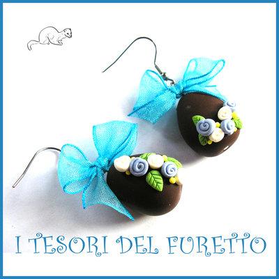 """Orecchini Pasqua """" Uova cioccolato azzurro bianco """" Fimo cernit premo clip Kawaii idea regalo bambina"""