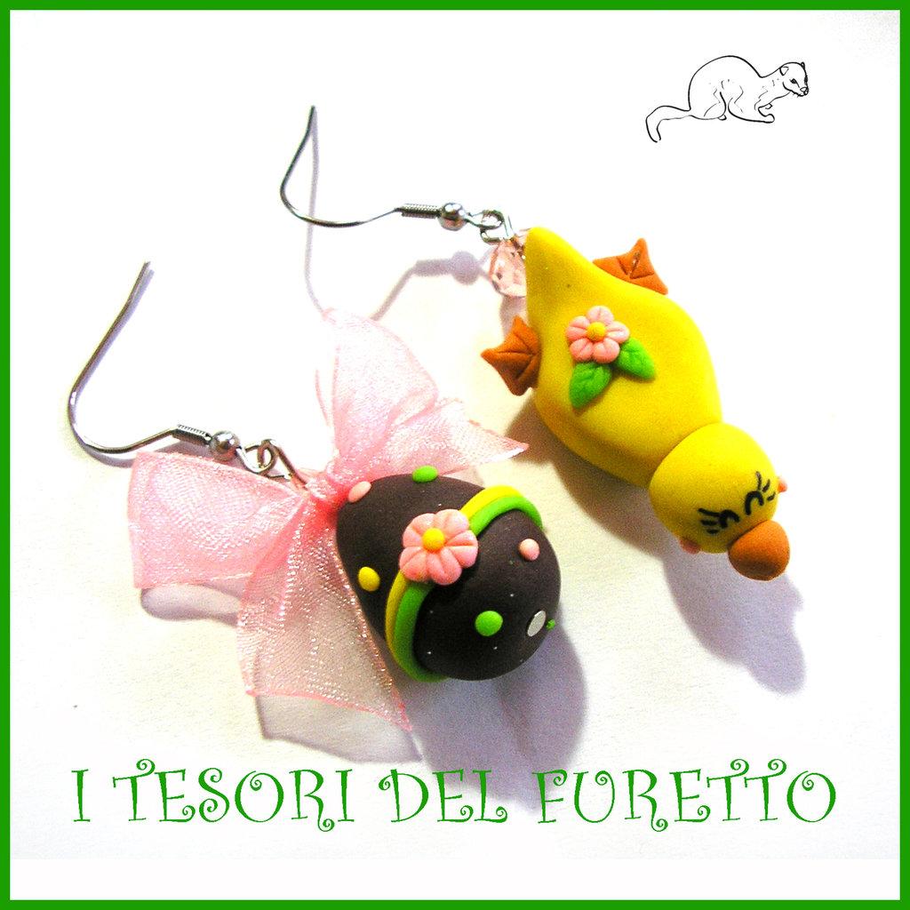 """Orecchini Pasqua ,"""" Uovo cioccolato e paperotto """" papera Fimo cernit kawaii idea regalo clip"""