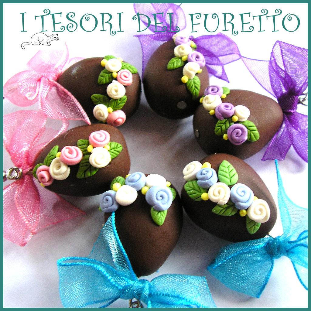 """Set 3 paia orecchini di Pasqua """" uova cioccolato rosa lilla azzurro """" Fimo cernit idea regalo bambina Kawaii clip"""