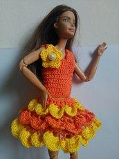 Gonna e canota da Barbie fatti al uncinetto