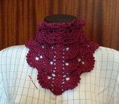 Bandana donna color rosso vino in cotone e viscosa  all'uncinetto