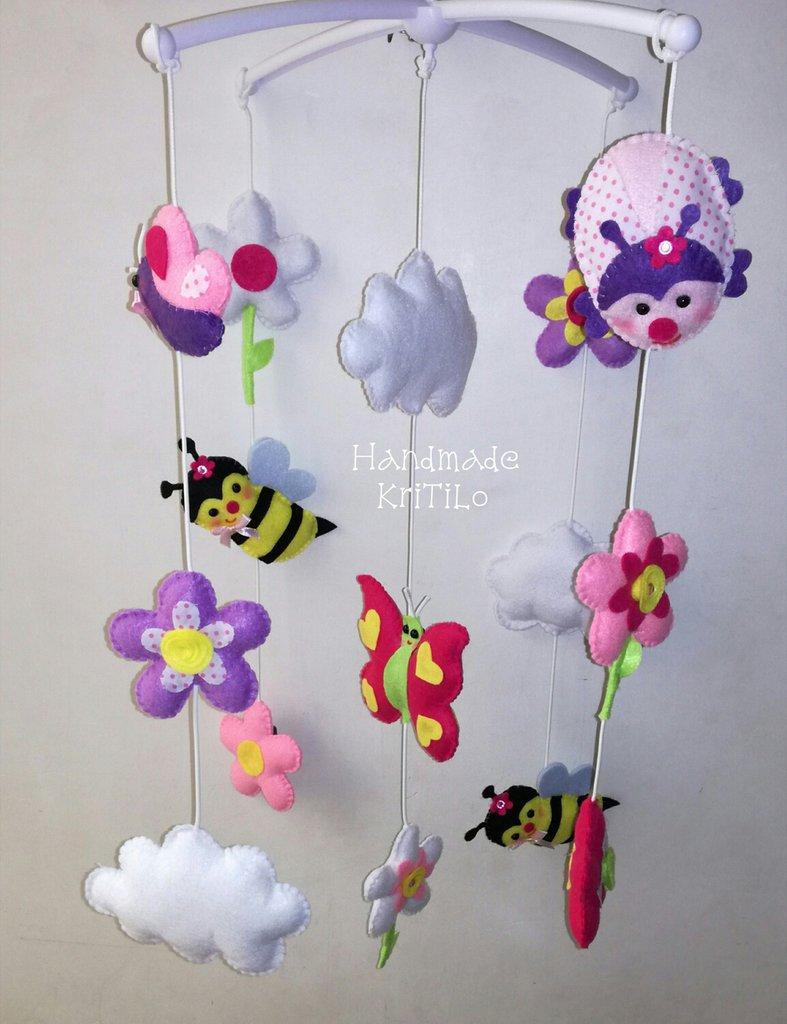 Giostrina felt mobile culla Spring Handmade KriTiLo