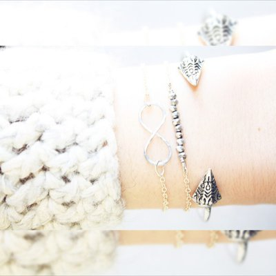 Argento picco braccialetto, Triangolo Freccia Bracciale