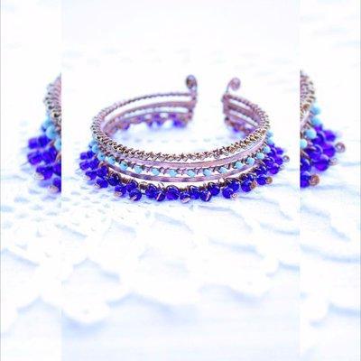 stile Wire multi del filo braccialetto Marocco blu etnica