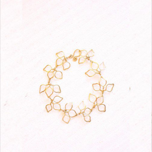 Bracciale Golden Leaf, braccialetto filo in ottone, foglie
