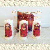 Le tre scimmiette sagge, candele che arredano.