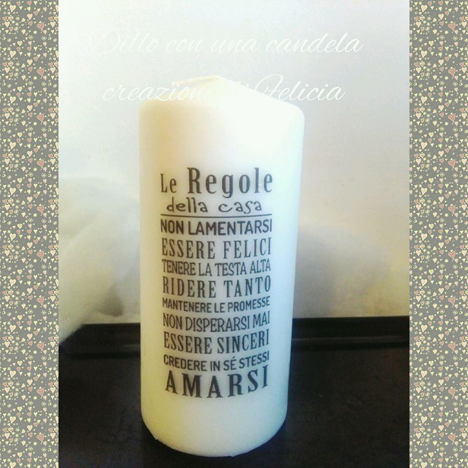 candela personalizzata con le regole della casa