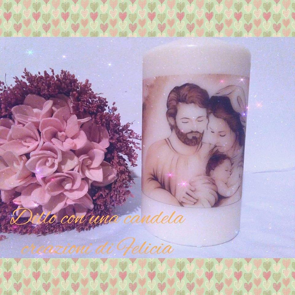 candela con rappresentata la sacra famiglia