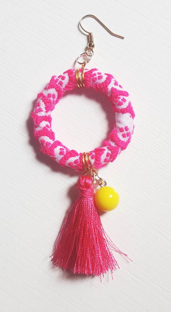 Orecchino pendente etnico pink - PEZZO UNICO!