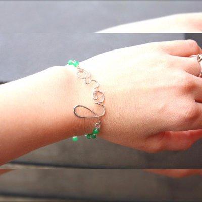 Amore scrittura corsiva braccialetto, parola amore