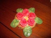 Porta candele, rose corallo