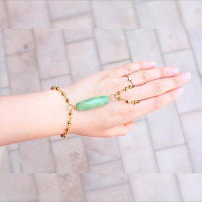 Verde bracciale schiava Agata, anello braccialetto