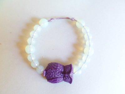 bracciale regolabile porta fortuna con gufo e opale