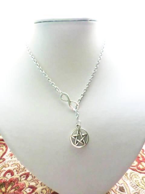 stella wicca e infinito collanina tono argento fatta a mano