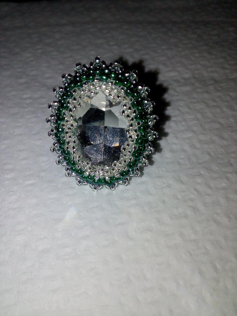 Anello regolabile smeraldo argento