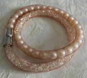 Bracciale stardust rete tubolare nocciola strass e perle
