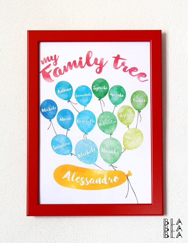 Quadretto albero di famiglia personalizzabile in cornice
