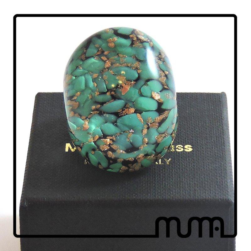 Bellissimo anello in vetro di Murano, grande, alla moda, confezione regalo inclusa