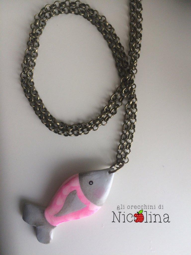 Collana lunga pesciolino rosa