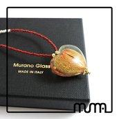 Collana perline di conteria e pendaglio cuore in vetro di Murano