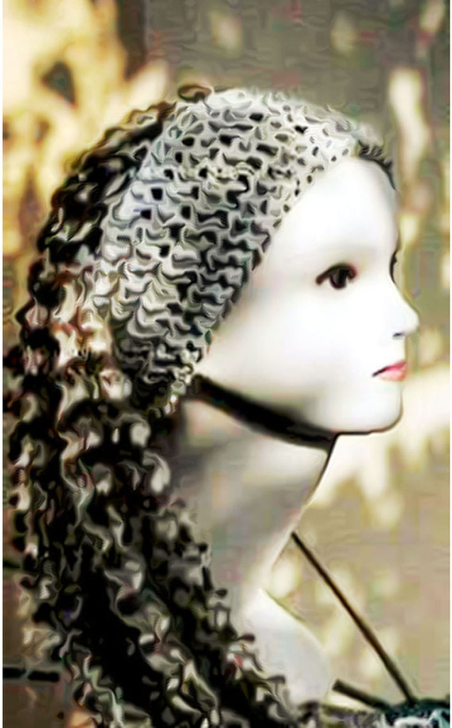 toupet di capelli finti su fascia all'uncinetto / toupet fake hair on headband