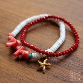 Bracciali in corallo e conchiglia / rosso corallo