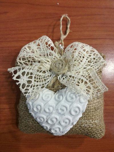 Bomboniera matrimonio poutpourrie cuore con sacchetto in juta Handmade KriTiLo